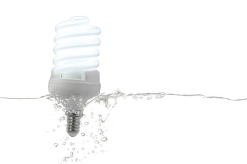 fluorescent lamp on, in water -  renewable energy concept -
