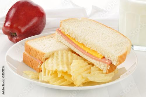 Bologna sandwich with an apple and milk