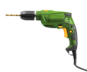 Green electric drill isolated