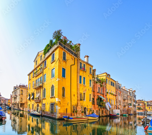 Foto op Canvas Kanaal Venice cityscape, water canal, bridge and buildings. Italy