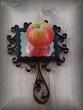 Leinwandbild Motiv Apfel auf Handspiegel alt spiegelt sich