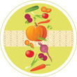 Vegetable ingredients. Circle sticker
