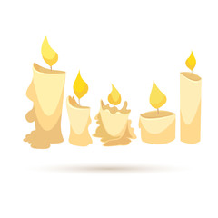 Candle set isolated on a white backgrounds