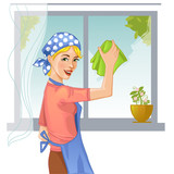 Woman washes window, eps10