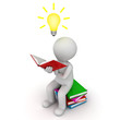 3d man sitting and reading book with idea bulb white background