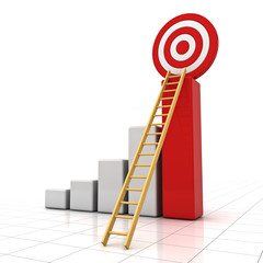 3d business graph with wood ladder and red target concept