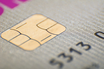 Credit or debit card chip close-up