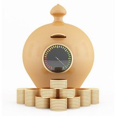 Full clay piggy-bank and coins