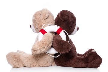 Liebespaar auf Hochzeitsreise - Konzept mit zwei Bären isoliert