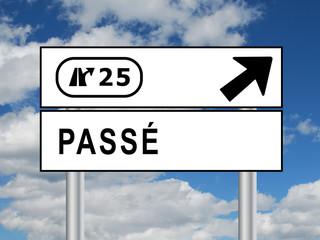 """Panneau """"PASSE"""" (avenir temps vie temps vie mort futur présent)"""