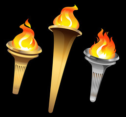 Flaming torch on a black background