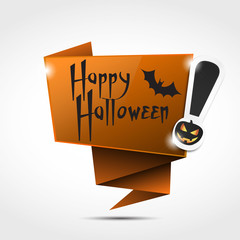 origami speech bubble : happy halloween