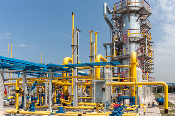 Gas compressor station in bright sunny summer day