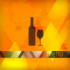 menu design with bottle and wineglass sign