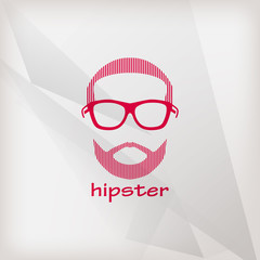 illustration with male face. hipster