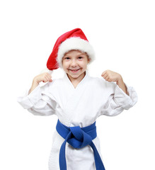 Little girl in the kimono and beanie Santa Claus