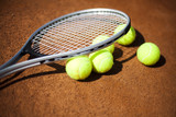 Tennis racket and balls, tennis court
