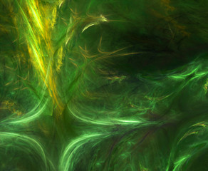 Awesome bright green fantasy waves on dark background