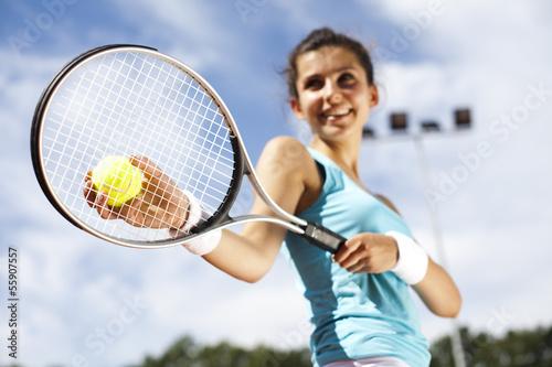 Poster Girl Playing Tennis