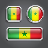 Senegal  flag glass buttons