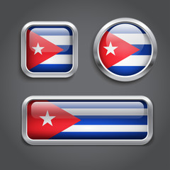 Cuba flag glass buttons