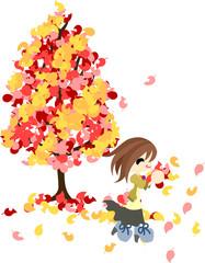 赤い葉と黄色い葉の不思議な木。