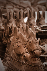 Sacred horse crafts made with clay in india