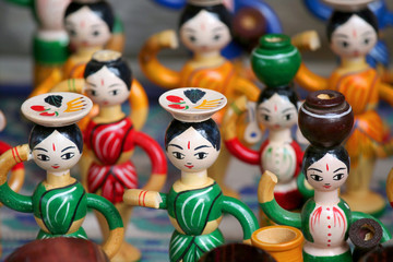 Colorful wooden doll handicrafts made in India