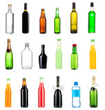 Collage of different bottles of liquids