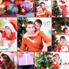 Collage of happy family celebrating New Year at home