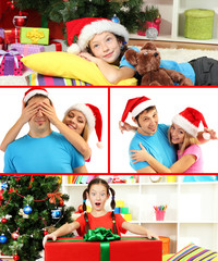 Collage of happy family celebrating Christmas at home