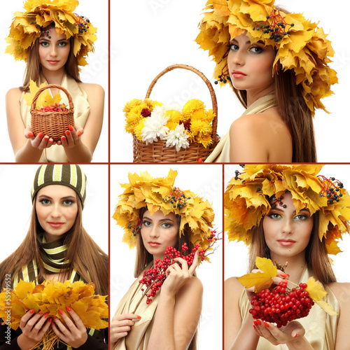 Collage of beautiful woman with autumn leaves