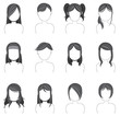 Silhouette hairstyle icon collection set 2
