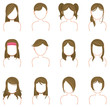 Gold hairstyle icon collection set 2