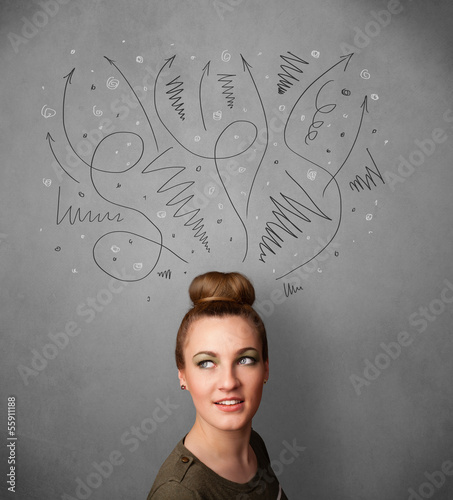 Young woman thinking with arrows over her head
