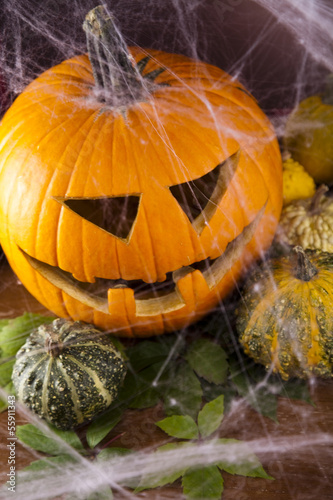Spider web, Halloween pumpkin Jack