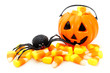 Jack o Lantern candy holder with candy corn and toy spider