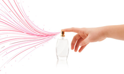 woman hands spraying colorful lines