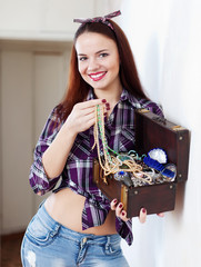 woman with treasure chest