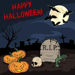 vector cartoon halloween card