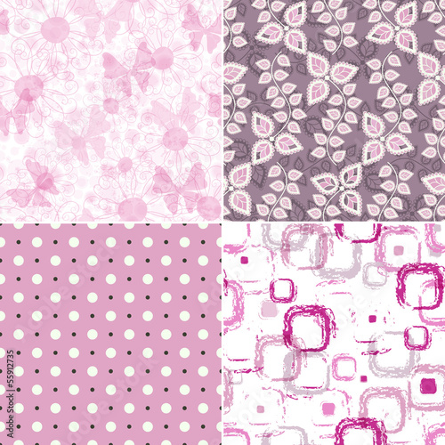 Set seamless vintage pink pattern