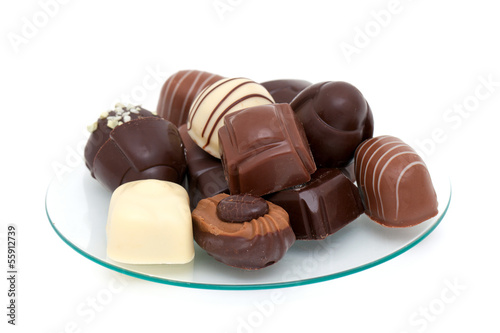 chocolate candies over white