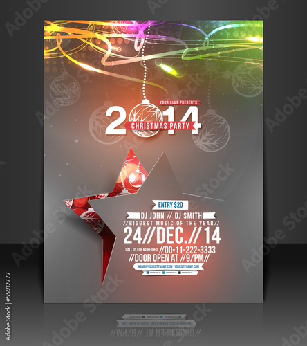 Vector Christmas Flyer Magazine Cover & Poster Template.