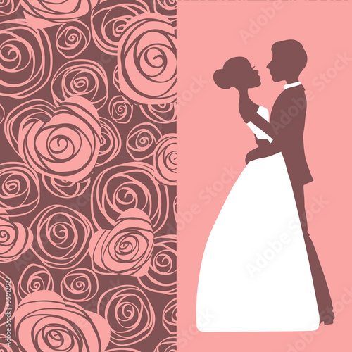 Wedding invitation. Silhouette of bride and groom