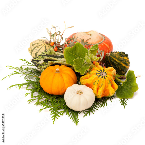 Pumpkins with green leaves isolated on white background