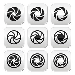 Camera shutter aperture vector buttons set