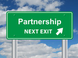 """PARTNERSHIP Next Exit"" Sign (teamwork business management goal)"
