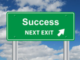 """SUCCESS NEXT EXIT"" Sign (business professional goals careers)"