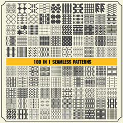 100 in 1 of Different vector seamless patterns