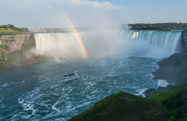 Niagara Falls Rainbow With Boat